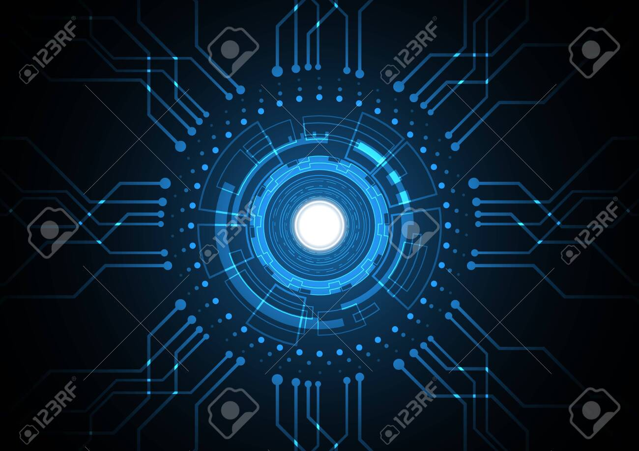 Technology abstract future circuit circle hexagonal background - 152706111