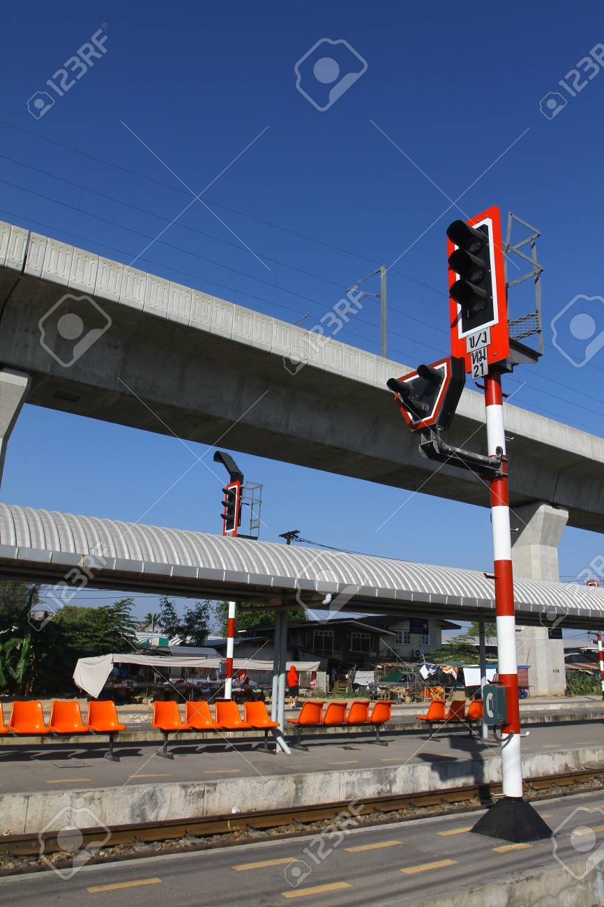 Train signals for railroad and traffic light for locomotive, Bangkok, Thailand Stock Photo - 13722017