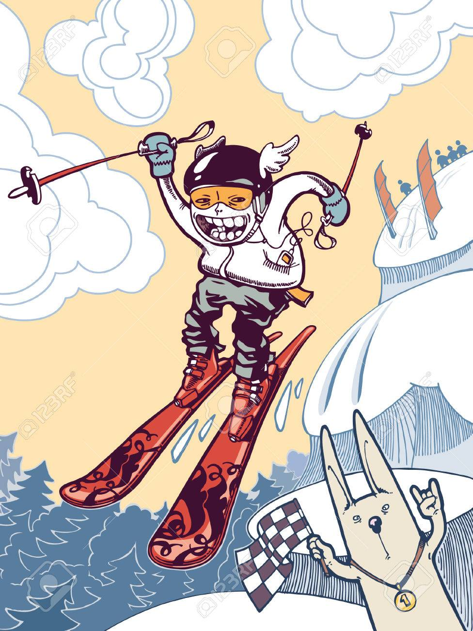 The ski freeride. The brave freerider is in the tough mountains. The newschool skier is sliding down and jumping from the snow cliffs. He is taking part in a freeride contest! Stock Vector - 7770965