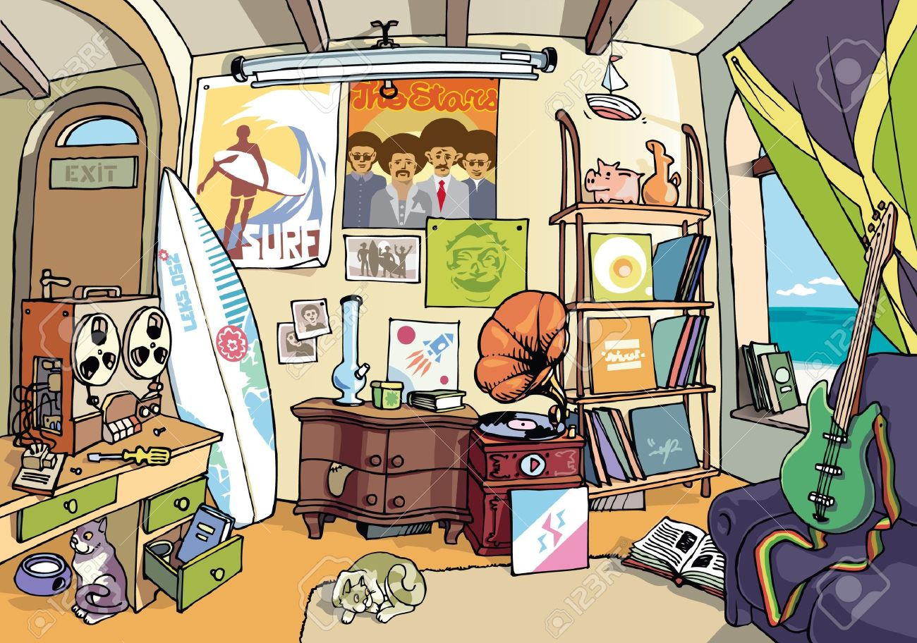 A bit messy room of an ordinary surfer somewhere in some sweet place. There  are