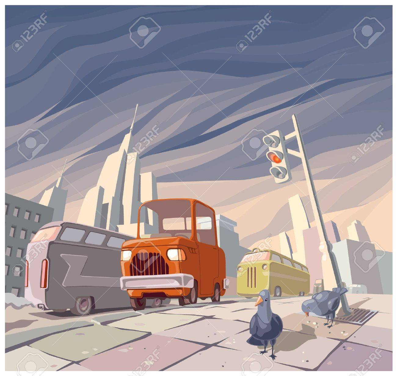 The orange cartoon vintage car in the middle of the main street in a big city. There are two pigeons on a pavement. Stock Vector - 10204340