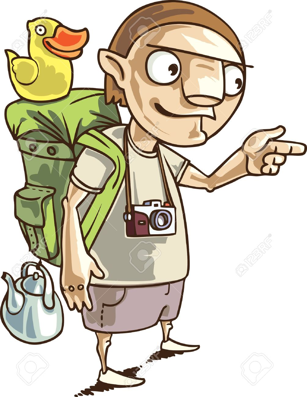 The backpacker with the all staff he needs in his journey. Stock Vector - 10222426
