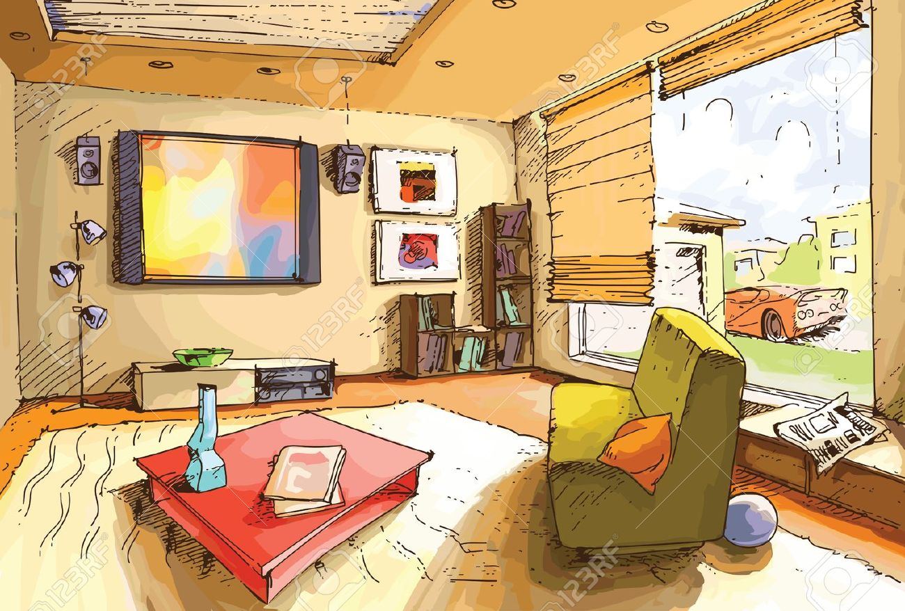 The Light And Empty Interior Of A Living Room In Bright Sunny Day Stock