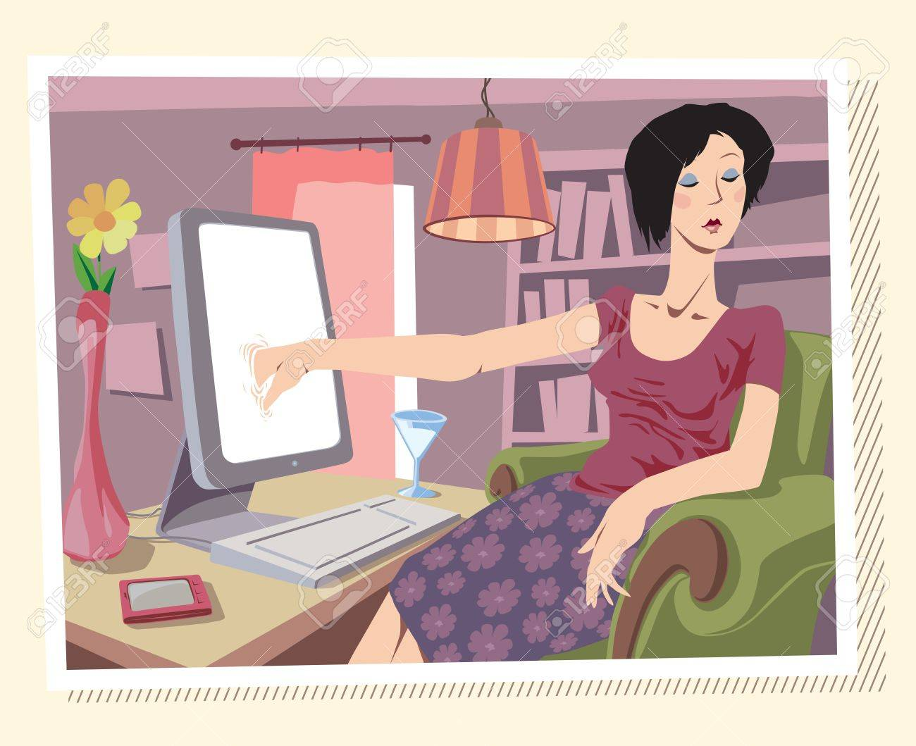 Woman is browsing the Internet or searching something on her local drives (I really don't know ;)) Stock Vector - 10222403