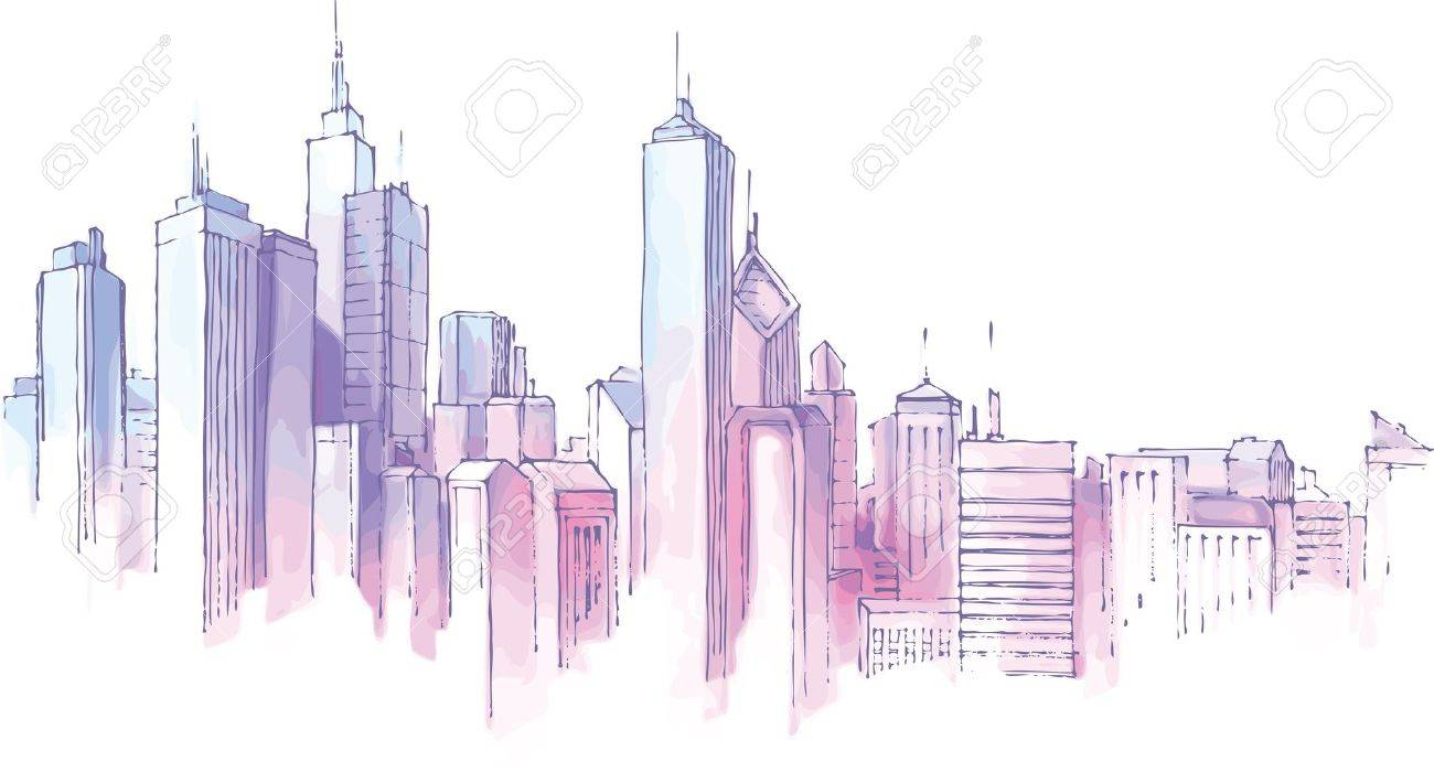 The hand-drown city skyline in a pastel shades. Stock Vector - 10222450