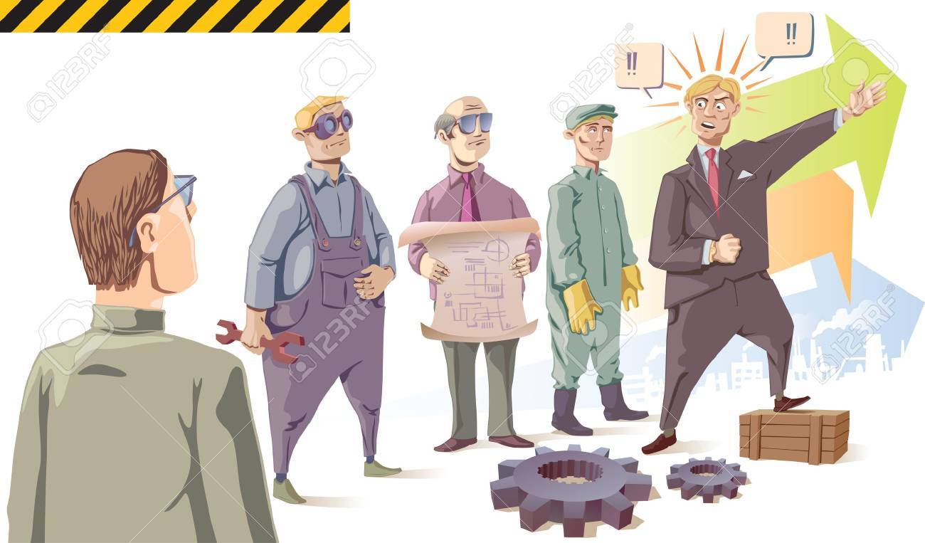 Manager is speaking passionately to his audience - the industrial workers. Set of the isolated characters. There are two gears in the front of the scene. Stock Vector - 10222481