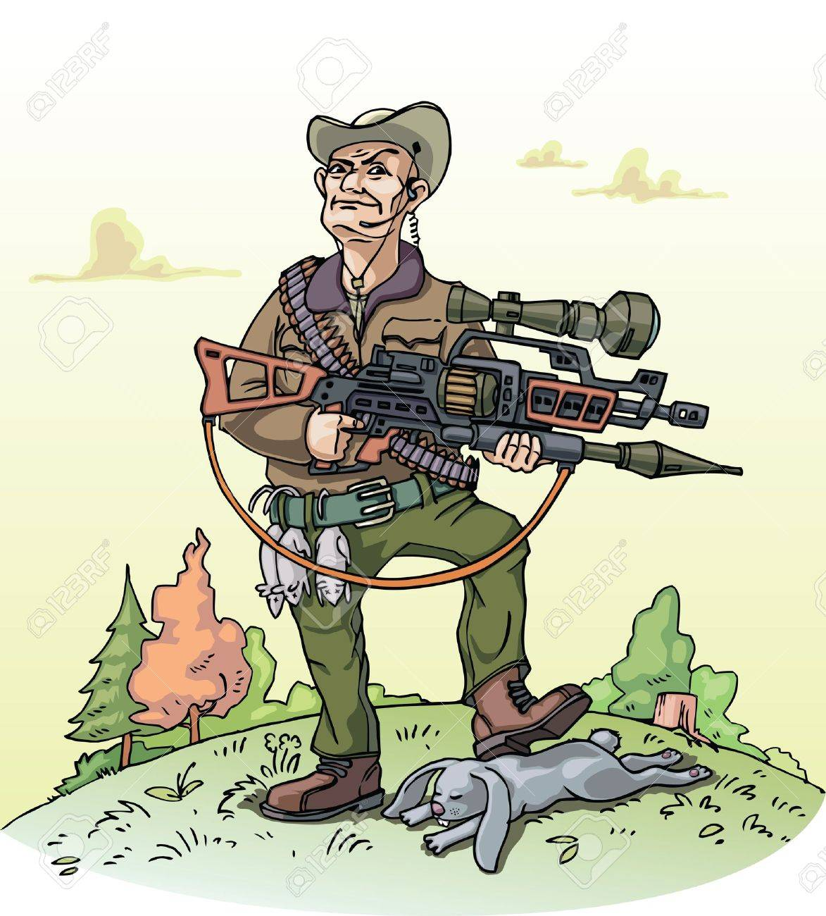 A vector illustration of a heavy armed hunter and his poor bag. Stock Vector - 10222448