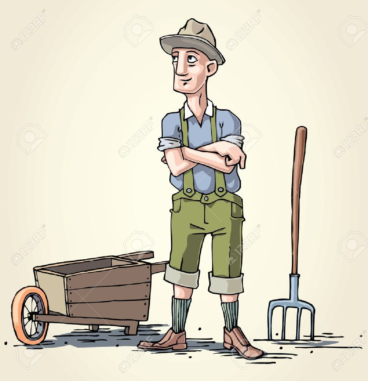 The farmer and his wheelbarrow. Stock Vector - 10222412
