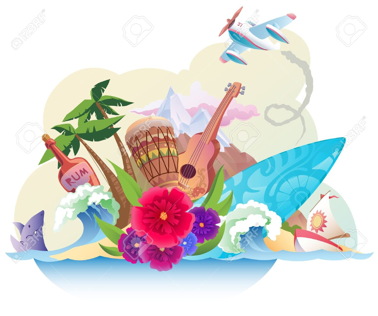 The tropical island with its music, surfing and the carefree lifestyle. Stock Vector - 12482898