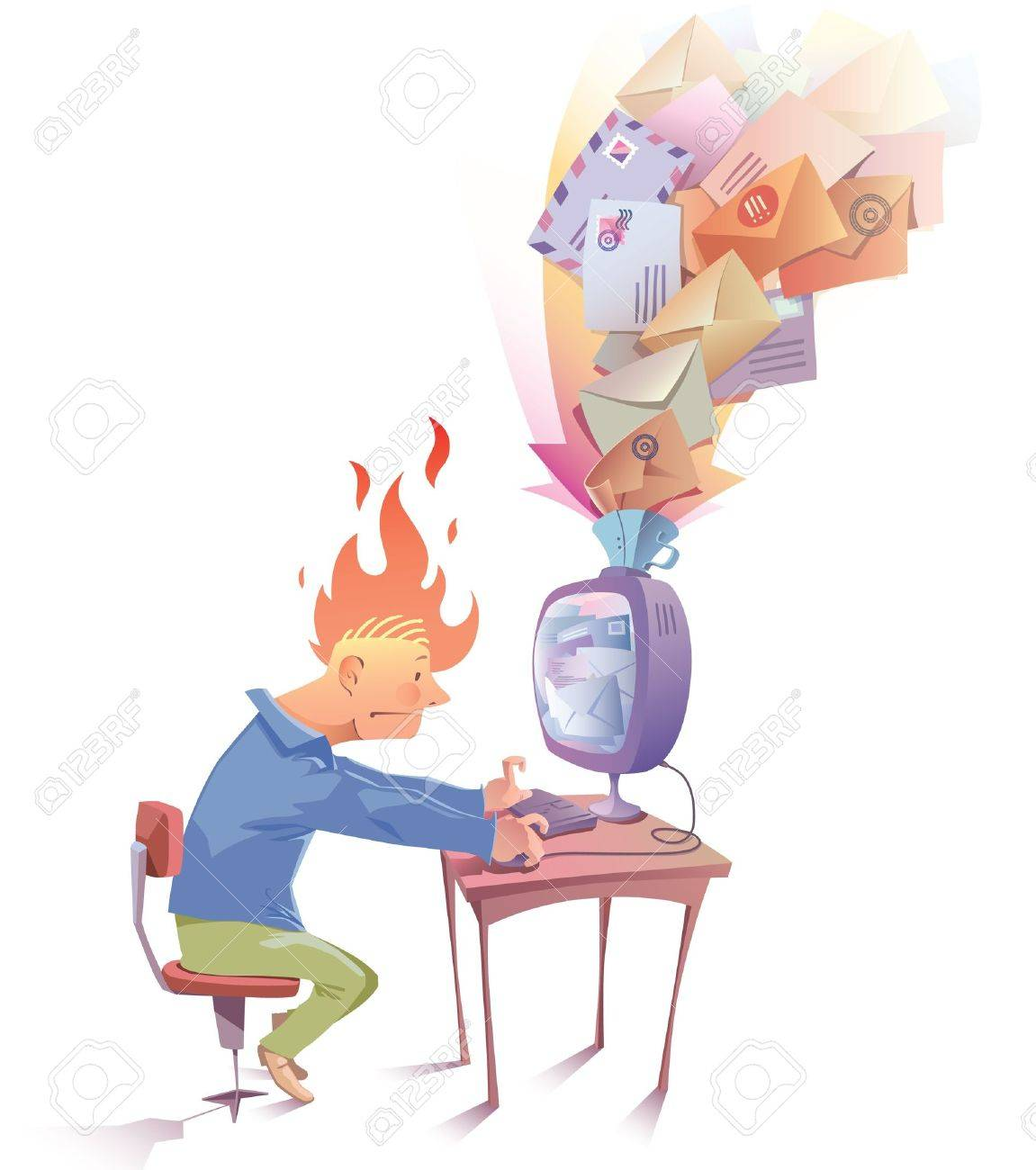 The man is working at the computer. Hi looks a bit nervous because he receive a lot of Spam messages... Stock Vector - 12482890