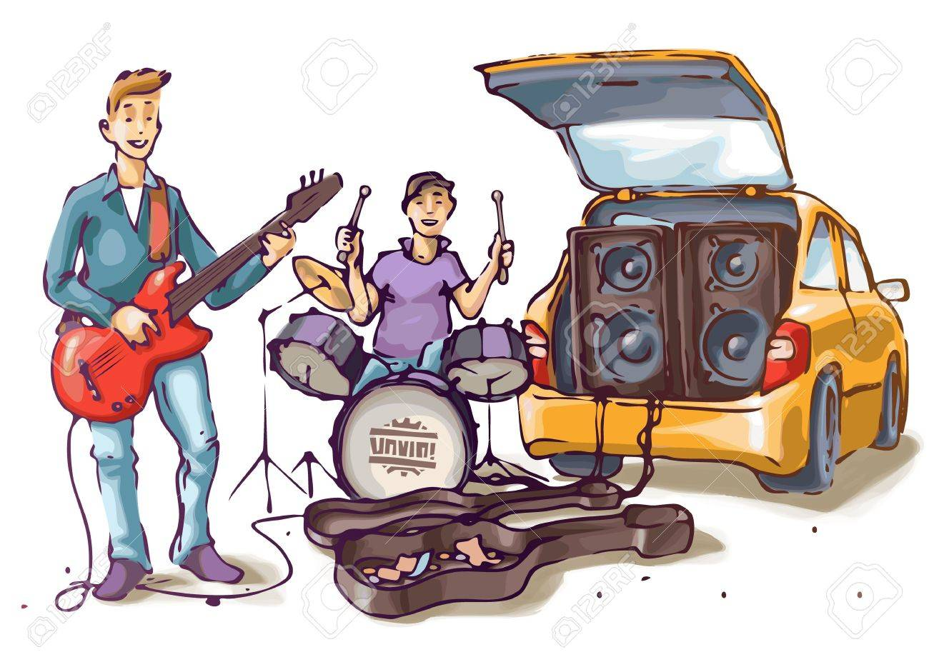 Two street musicians are playing their music Stock Vector - 12482900