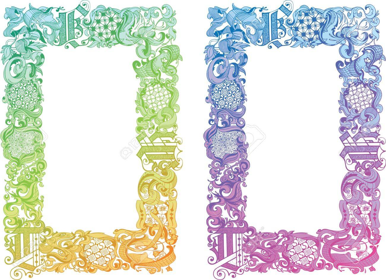 Two color schemes of the calligraphic boarder with the old type elements and the floral motifs - 14320926