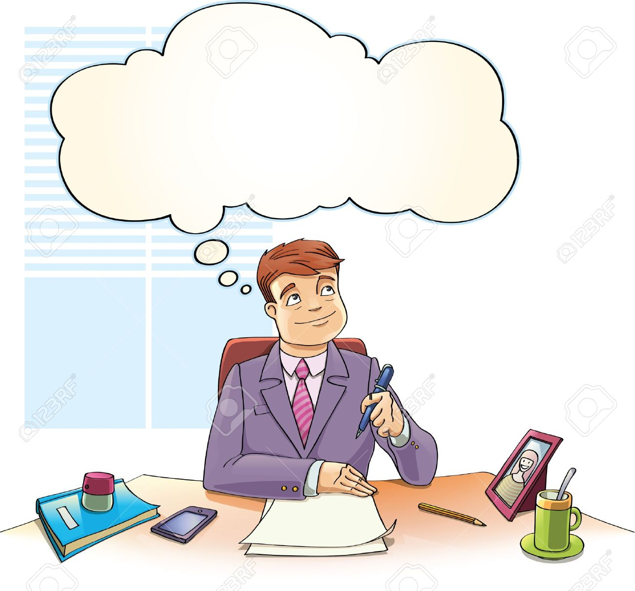 The businessman with the thinking bubble is dreaming over the blank papers on a table in the office. Stock Vector - 19579024
