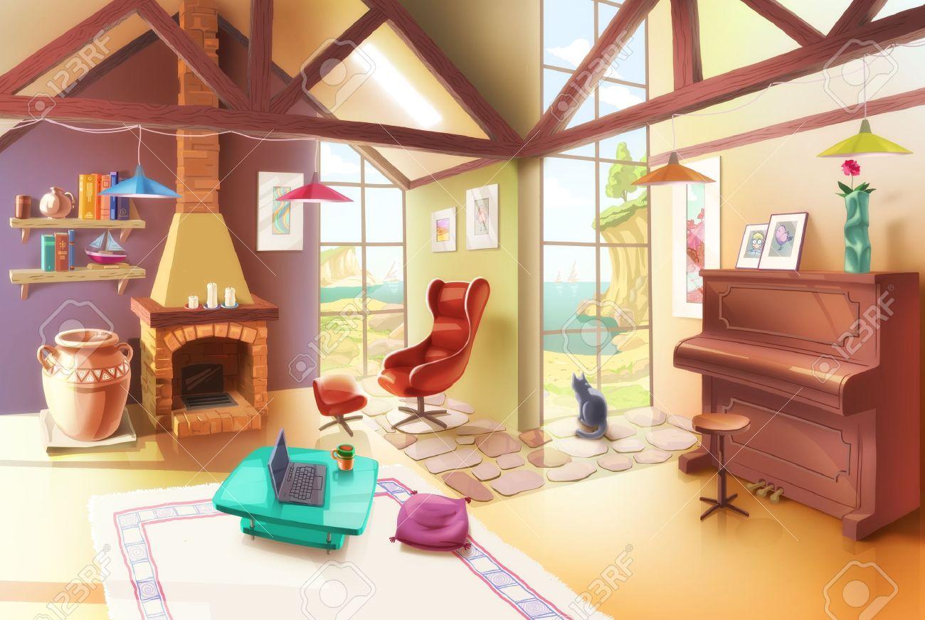 Das Helle Und Gemütliche Wohnzimmer Mit Dem Kamin, Sessel, Klavier, Kleinen  Couchtisch Und