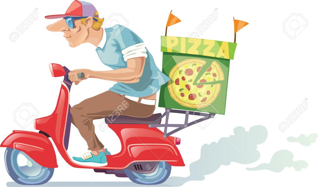 El Repartidor De Pizza En Una Gorra De Béisbol Está Montando La Moto ...