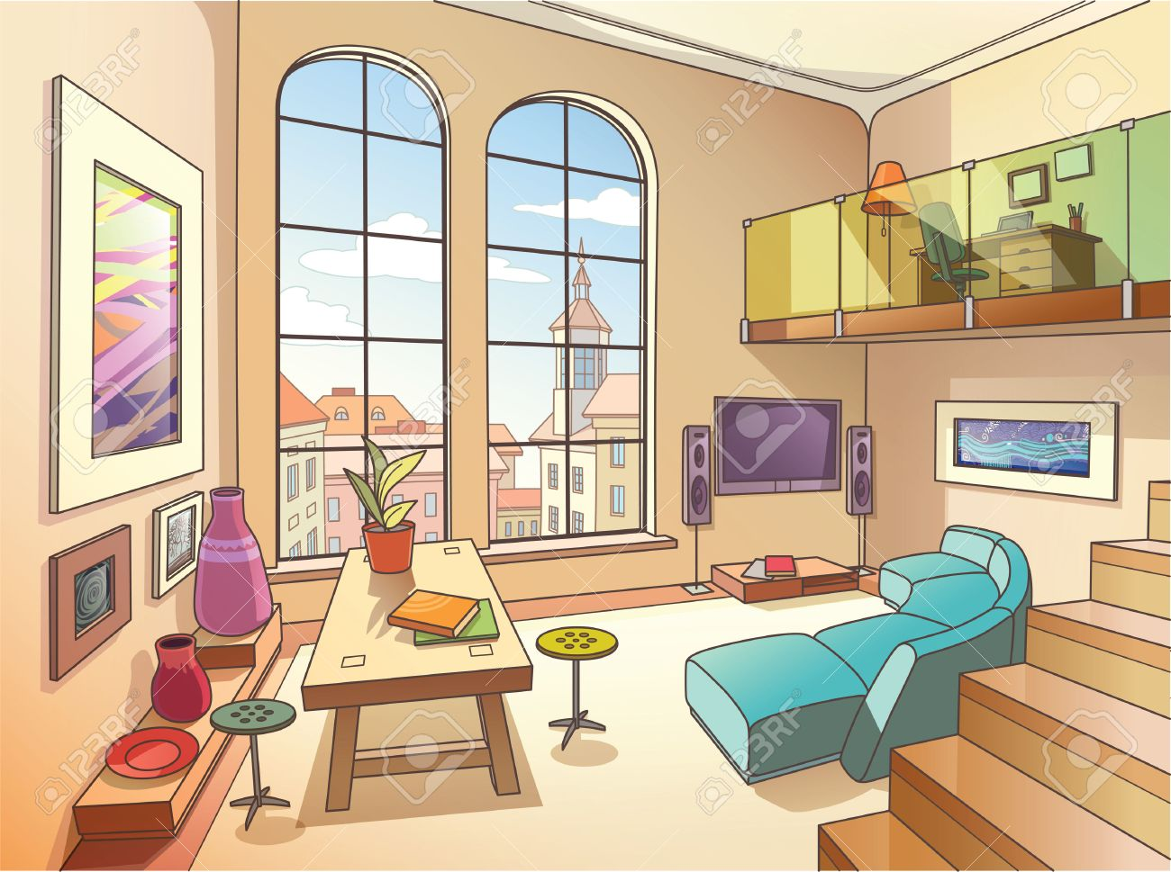 the light interior of a two storied cozy living room is full the light interior of a two storied cozy living room is full of paintings and