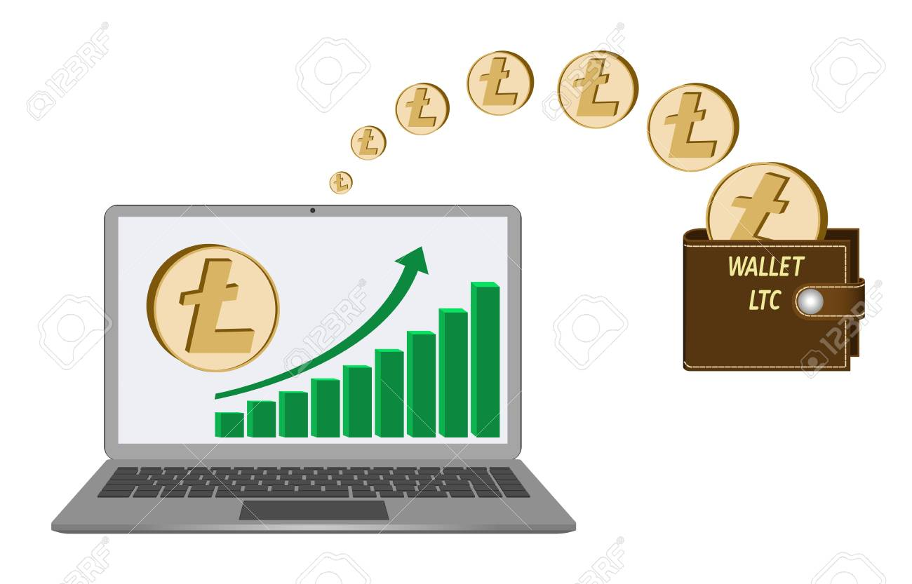 transfer litecoin coins from laptop in the wallet on white  background,growth