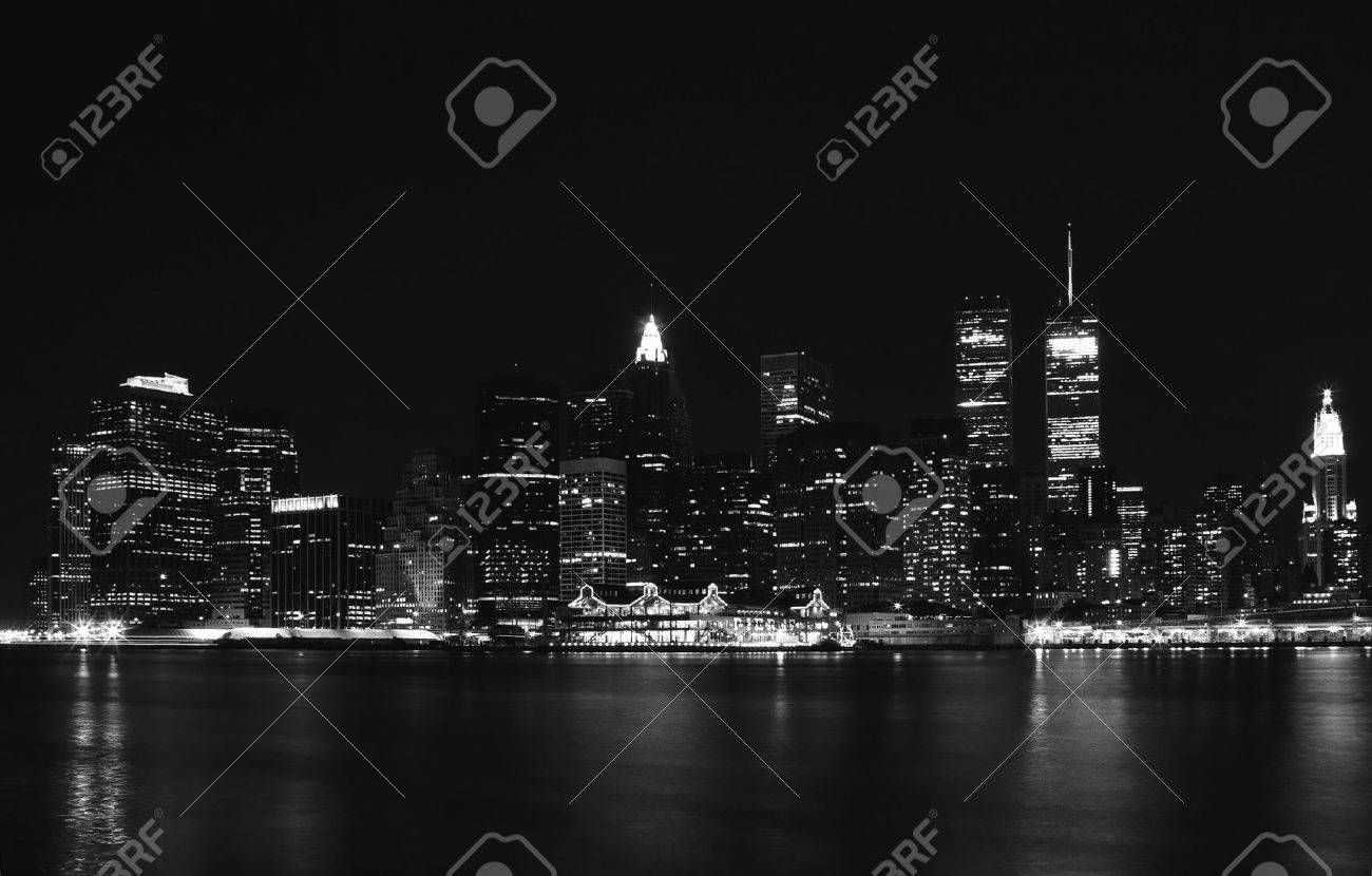 Panoramic view on night lights of New York City Stock Photo - 5801786