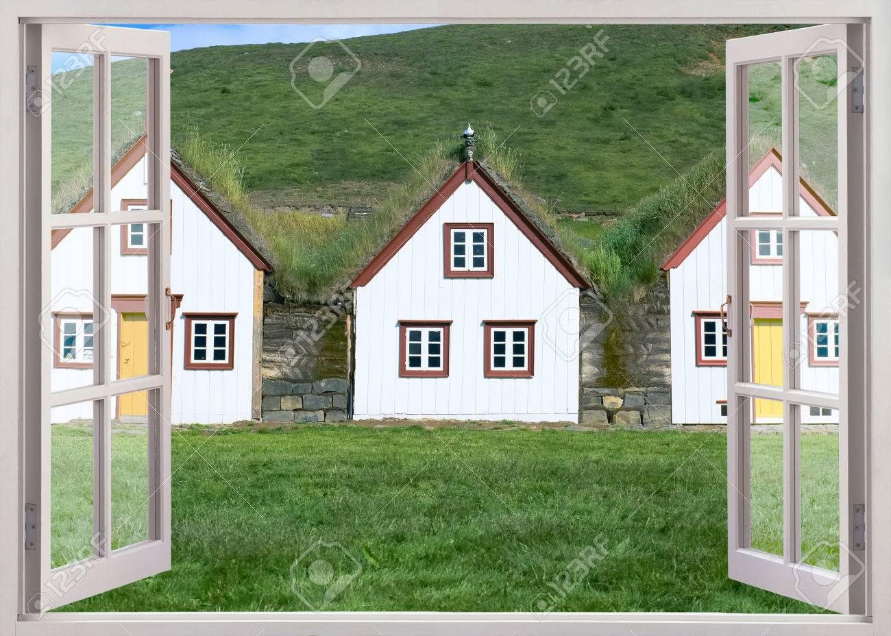 Banque Du0027images   Ouvrir La Fenêtre Sur Les Maisons De Gazon Au Musée  Folklorique De Glaumbaer, En Islande