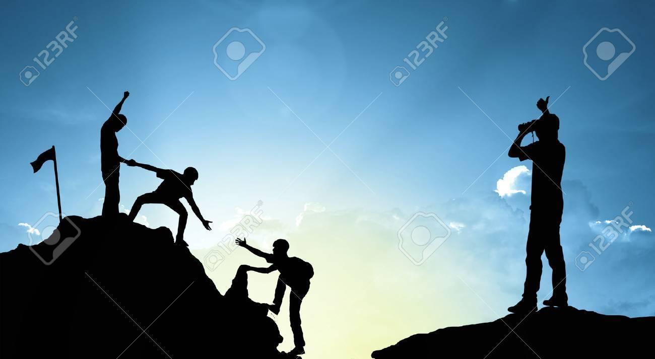 climbing helping team work , success concept - 60193864