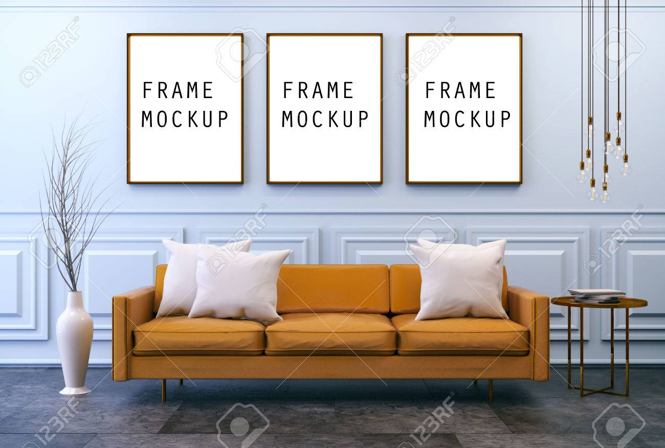 Modern vintage interior with Mock up poster ,living room, Brown..