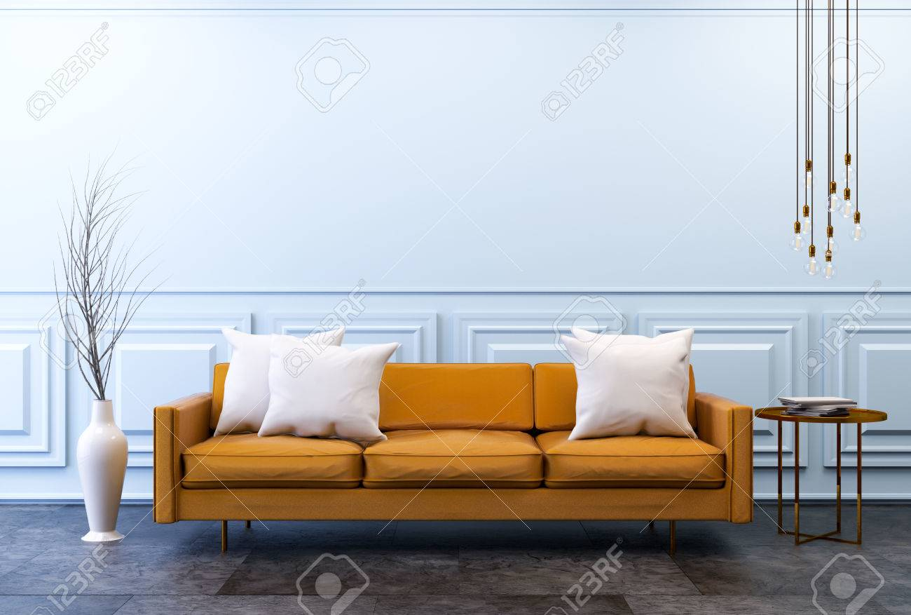 Modern vintage interior ,living room, Brown leather sofa on..