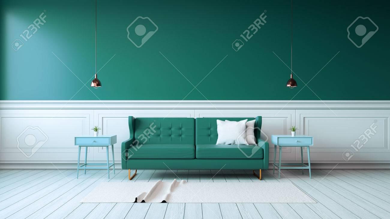 Interieur Moderne Du Salon Avec Des Fauteuils Verts Sur Un Sol Blanc Et Un Mur Vert Fonce Rendu 3d