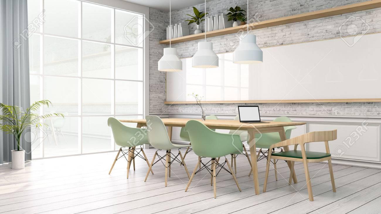 Intérieur Minimaliste Salle De Réunion Salle Blanche Avec Chaise Verte Et Table En Bois Style Scandinave Rendu 3d
