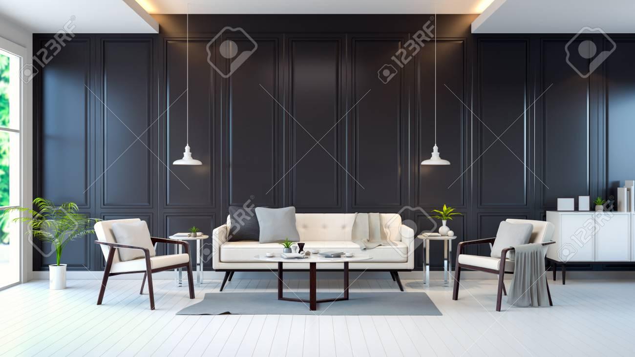 Chambre moderne contemporaine intérieure, canapé blanc, armoire, table sur  plancher blanc et mur noir, rendu 3D