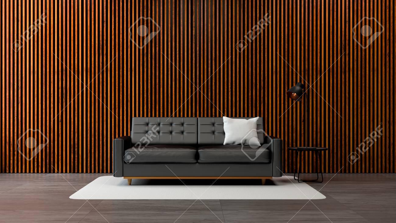 Blickfang Moderner Bodenbelag Dekoration Von Dachbodenwohnzimmerinnenraum, Schwarzes Sofa Mit Alter Hölzerner Wand