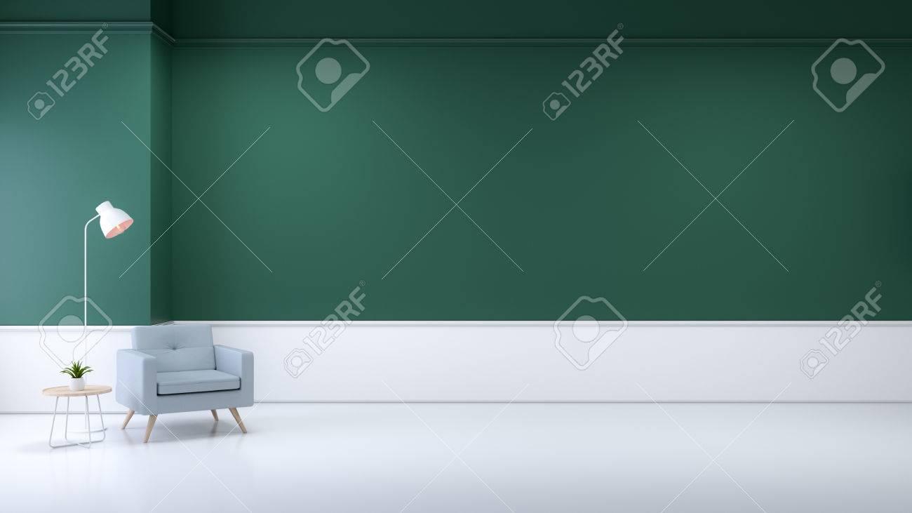 Minimalistischen Wohnzimmer Interieur Blauen Sofa Und Lampe Auf
