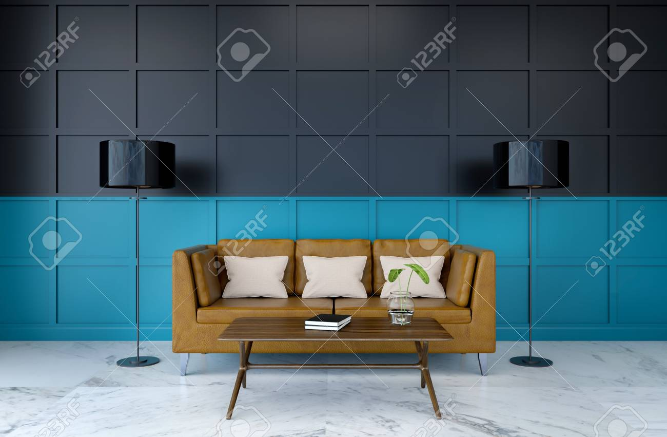 Modern Room Interior Brown Leather Sofa On Marble Flooring And Stock Photo Picture And Royalty Free Image Image 94210787