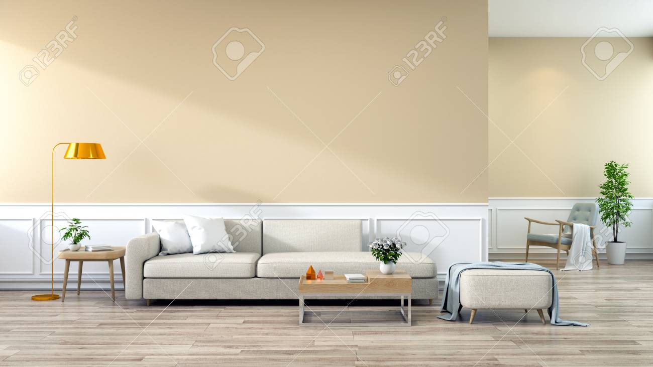 Modern Interior Of Living Room, Brown Sofa On Wood Flooring And ...