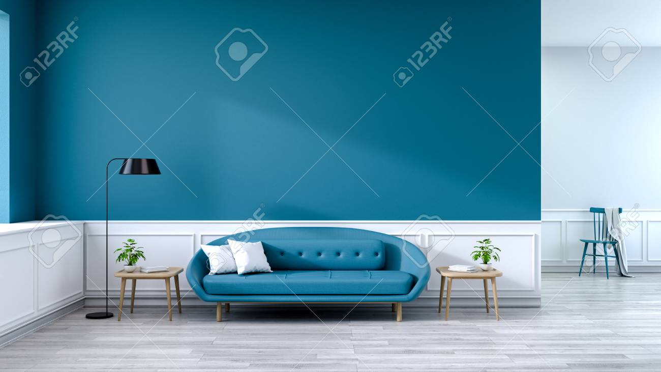 Minimalist Interior Of Living Room Blue Sofa With Wood Table Stock Photo Picture And Royalty Free Image Image 94356840
