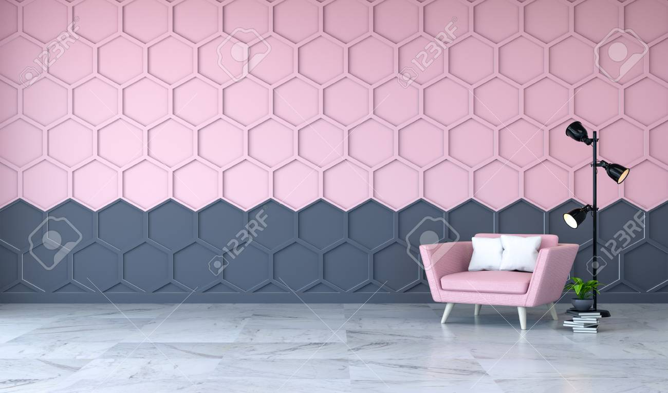 Modern Room Interior Pink Armchair On Marble Flooring And Pink Stock Photo Picture And Royalty Free Image Image 94356868