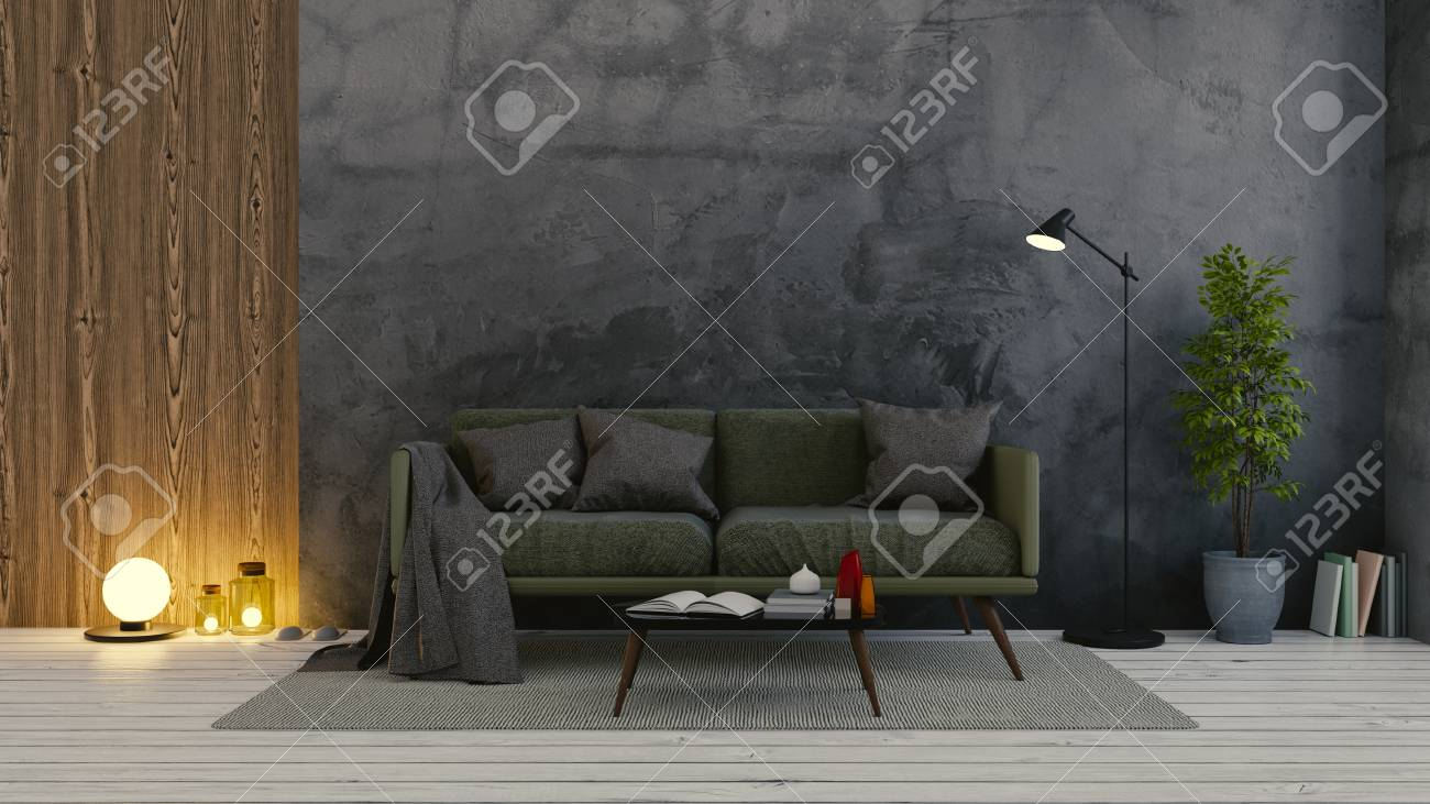 Modern Loft Interior Of Living Room,dark Green Sofa On White.. Stock ...