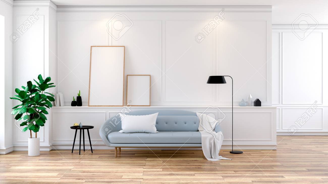 Stupendous Modern Mid Century Room Interior Light Blue Sofa On White Room 3D Pabps2019 Chair Design Images Pabps2019Com