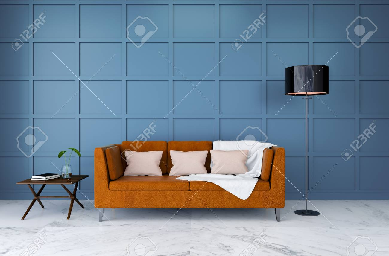 Modern Room Interior Design Brown Leather Sofa With Light Blue Stock Photo Picture And Royalty Free Image Image 94202346
