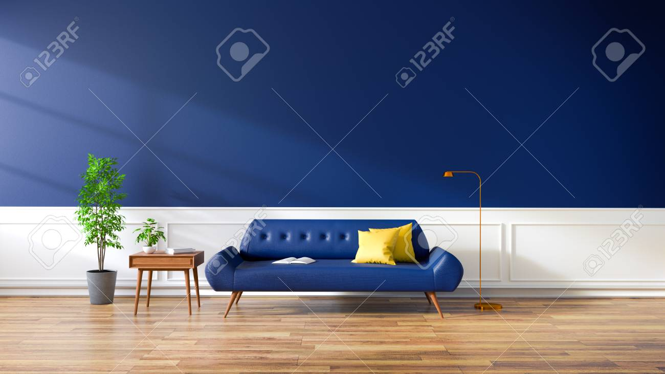 Stupendous Modern Interior Of Living Room Blue Sofa On Wood Flooring And Evergreenethics Interior Chair Design Evergreenethicsorg