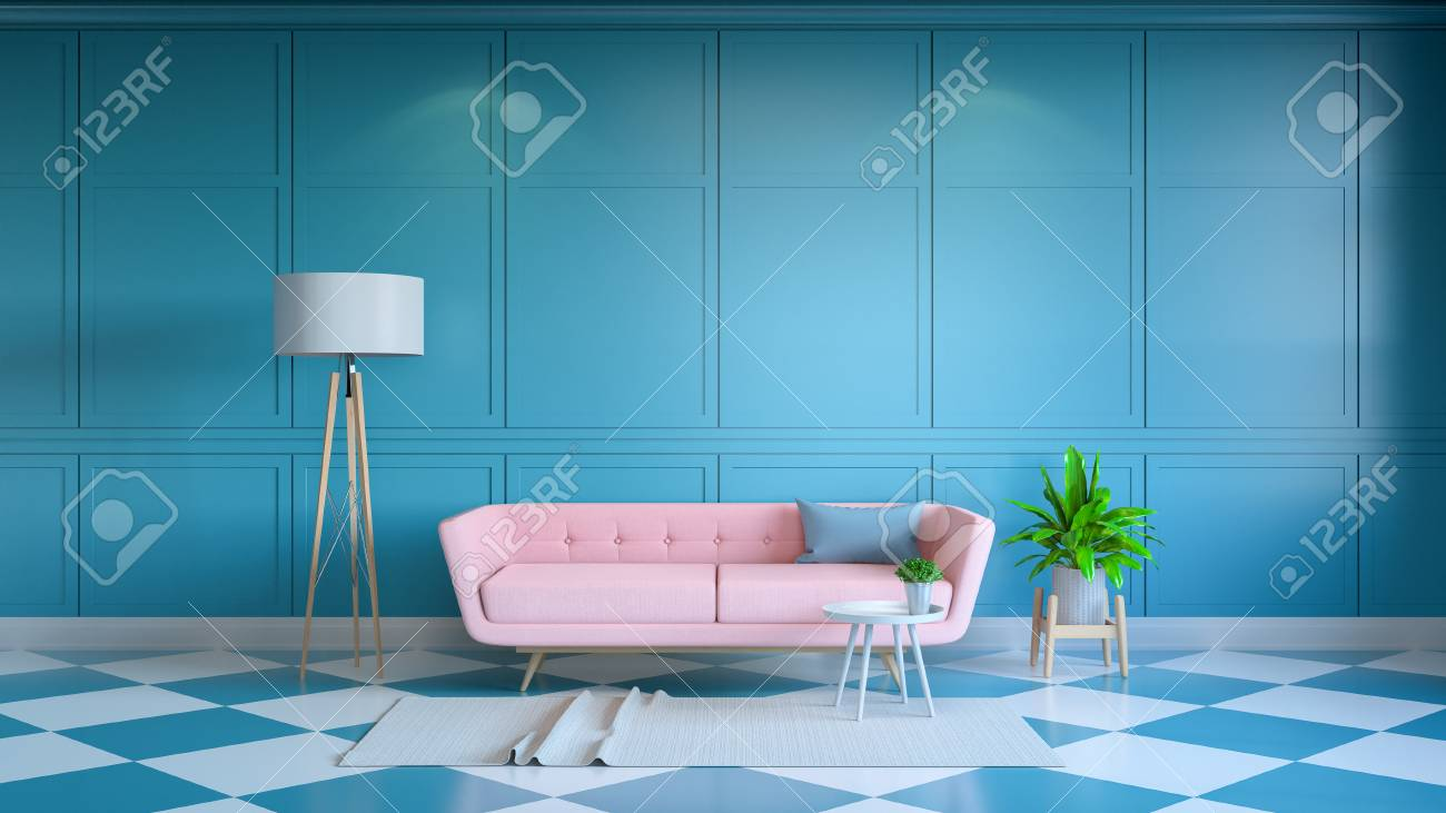 Retro modern interior living room ,and summer style,Yellow lounge..