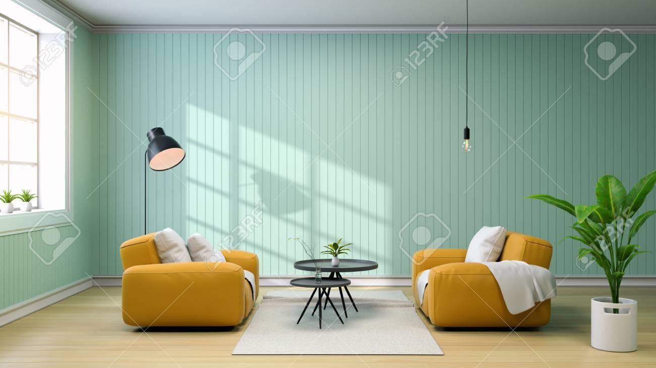 Interior of living room with yellow sofa and black coffee table,..