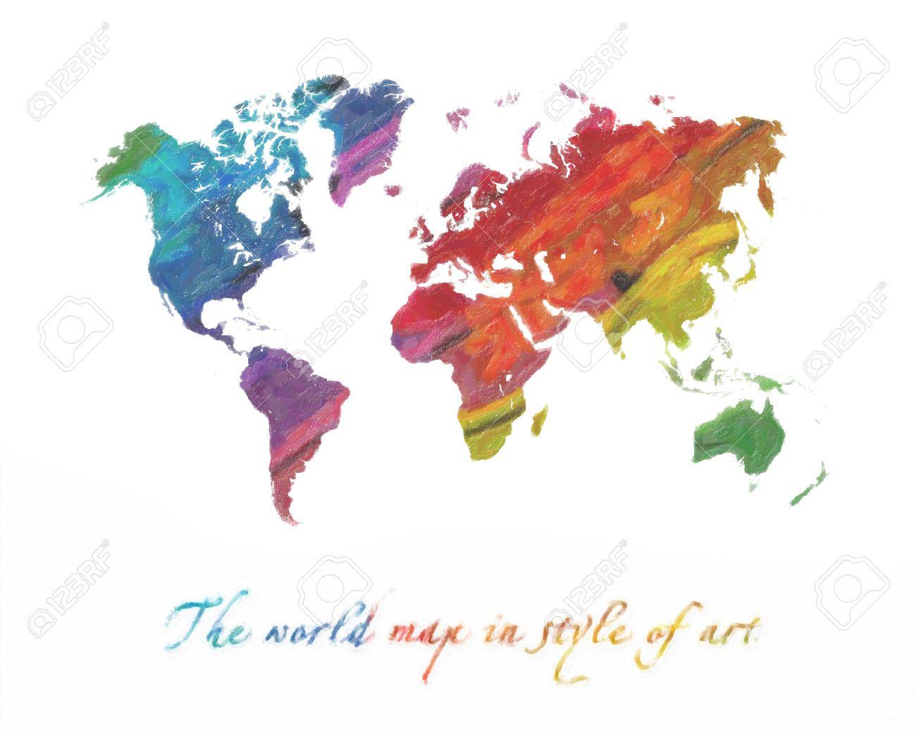La Carte Du Monde Dans Le Style De L'art. Multi couleur Des Tons