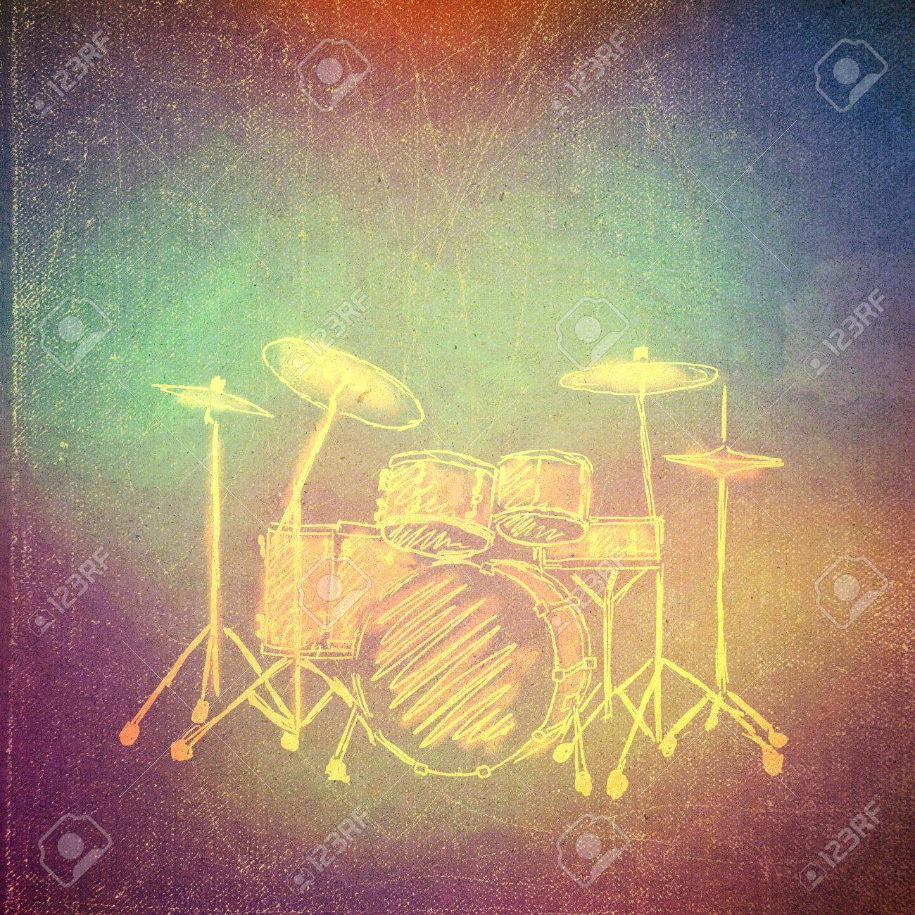 Vintage Paper Texture, Art Music Background, Drum Kit Stock Photo ...