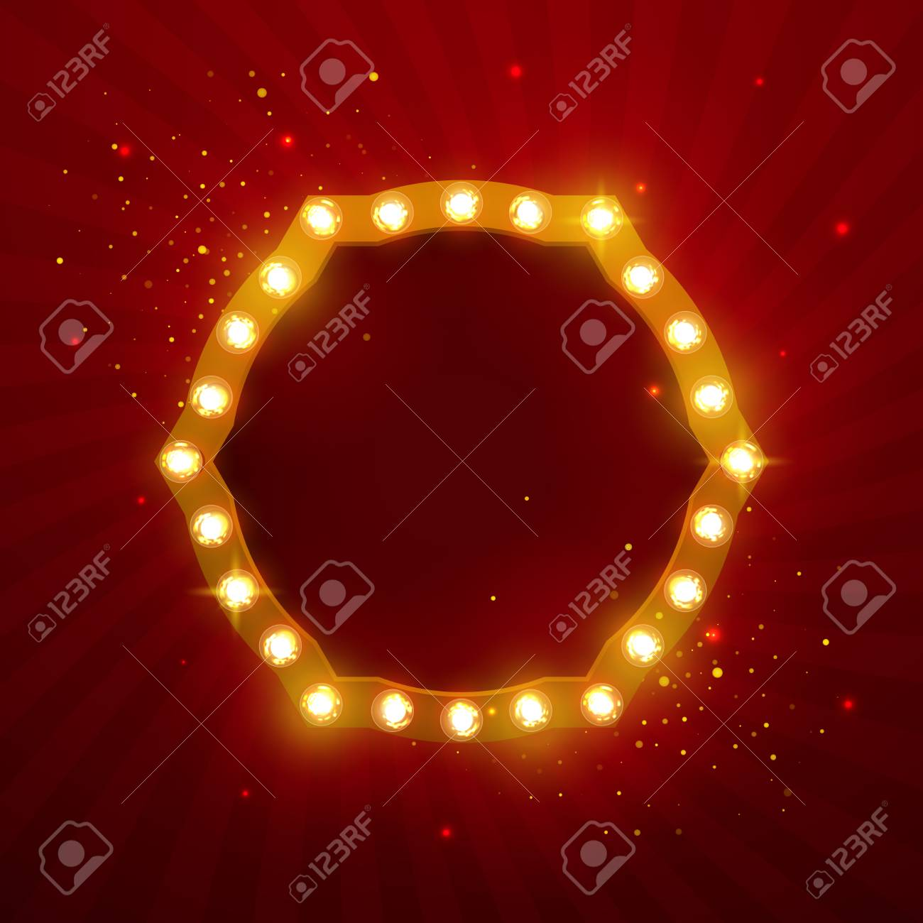 Glowing Lights Retro Frame For Advertising Design Special Light Effects Vintage Stage Backdrop