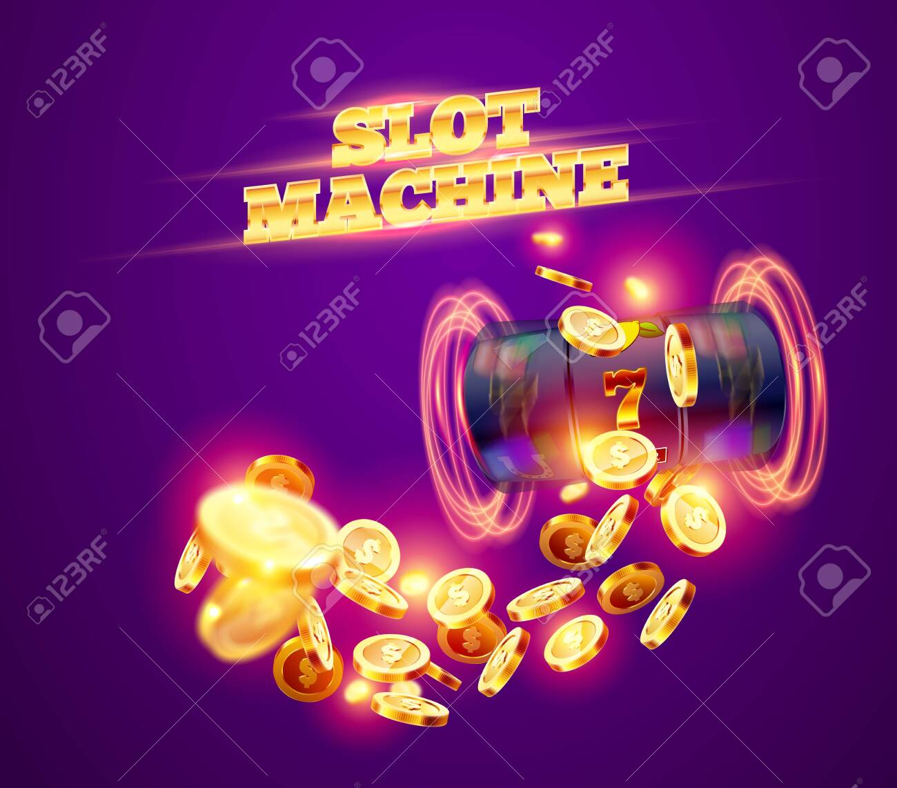 The black slot machine wins the jackpot 777 on the background of an explosion of coins. Vector illustration - 146845968