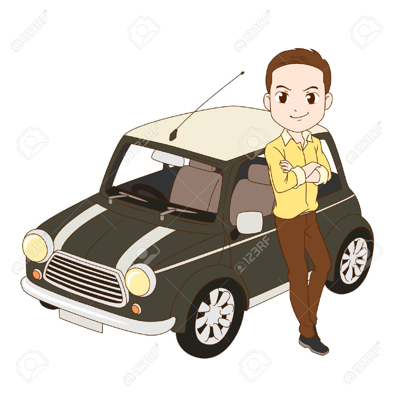 The man and mini cooper car. - 92717186