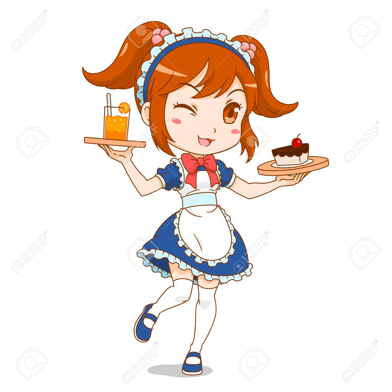 Cartoon character of maid cafe girl. - 120805880