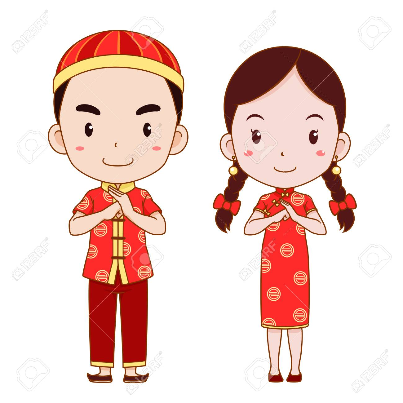 Happy Chinese New Year With Cute Couple Cartoon In Chinese