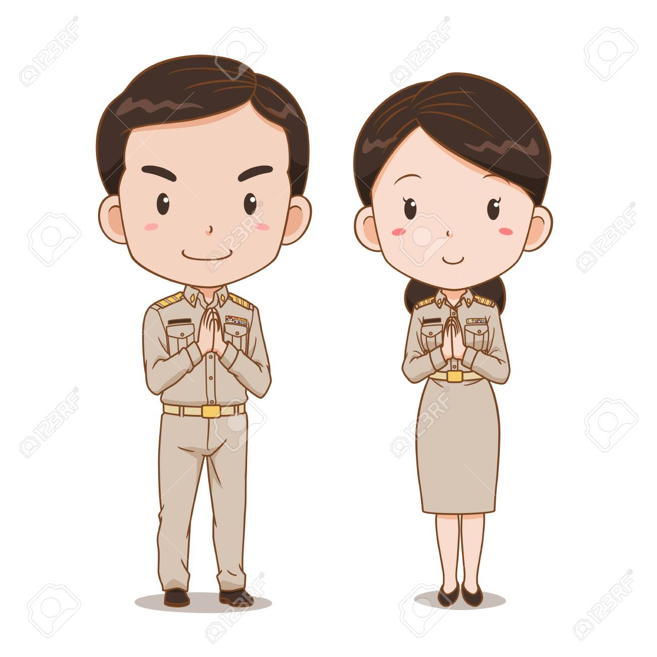Cute Couple Cartoon Of Thai Government Officers Royalty Free