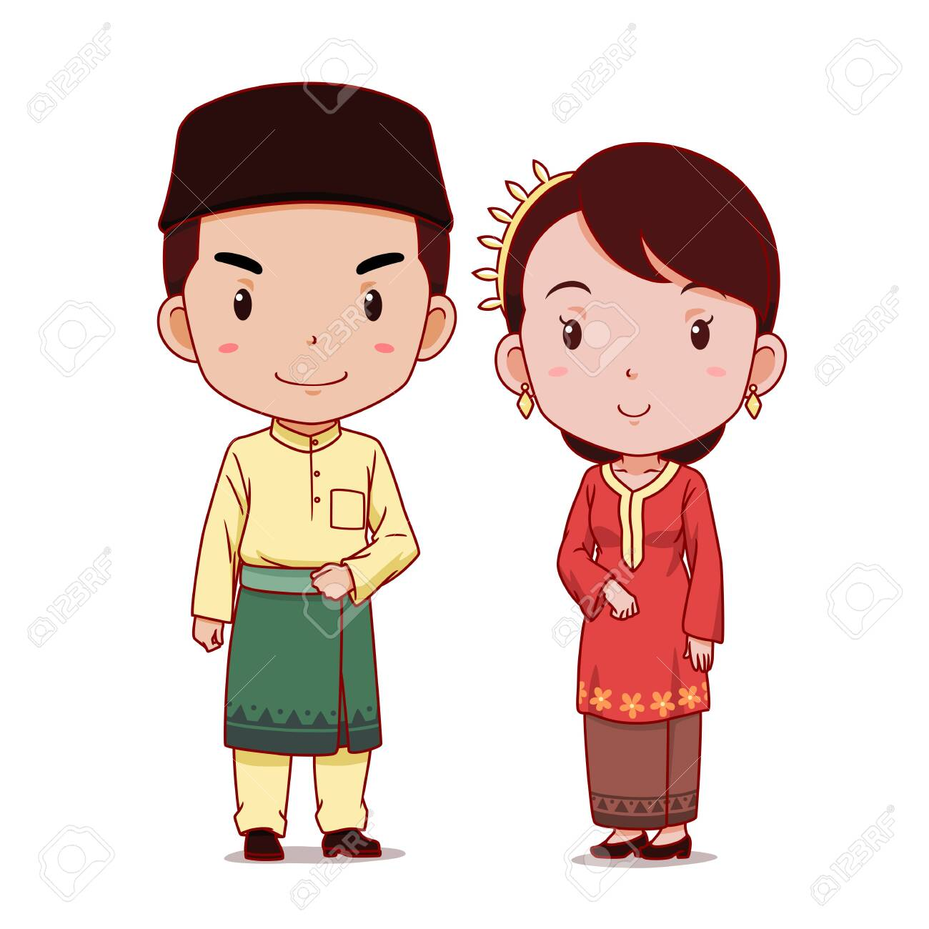 Couple of cartoon characters in Malaysian traditional costume. - 133378840